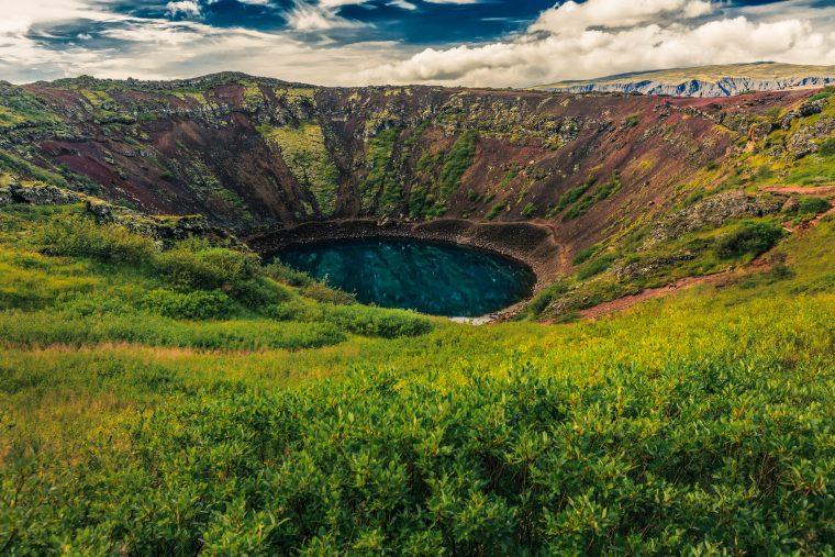 Exploring Kerið lake, Iceland